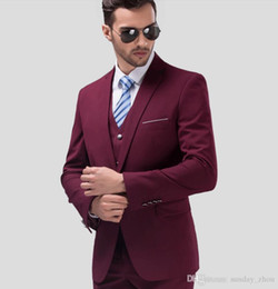 $enCountryForm.capitalKeyWord Australia - The most fashionable men business suits three-piece formal men groom suit latest design wine red suit for men(jacket+pants+vest)