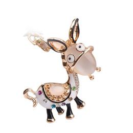 Custom Logo Pendants NZ - Custom LOGO Accepted 2017 fashion Charm Donkey Keychain Opal Keyring Rhinestone Pendant Bag Key Chain Ring
