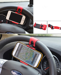 Wholesale Car Steering Wheel cell phone ring holder Clip Car Bike Mount Stand Flexible Cradle Holder for iphone samsung Cell Phone GPS Christmas gifts