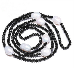 JLN Sweater Chain 11-12MM Natural Freshwater Rice Pearl & 4mm Crystal White Black Jewelry 90cm Long Pearl Necklace on Sale