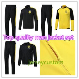 Pantalons Costume Sport Pas Cher-2017 2018 Dortmunds survêtement Jacket Set Homme Kit manches longues costume de formation pantalons football Borussia Aubameyang Reus vêtements vêtements de sport