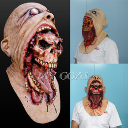 mask horror zombie Canada - Halloween Latex Bloody Mask Zombie Face Melting Walking Dead Horror Costume Party Prop