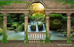 Wallpaper Murals 3d Mysterious Garden Balcony Waterfall Scenery Custom Wall  Mural