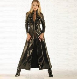 sexy pvc suit NZ - Cosplay Halloween Costumes Black Cloak sexy leather piece suit Pvc sexy adult fun dress