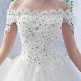Chinese  2019 top quality US style high-grade bateau brush Rhinestones 120 cm tailing white floor-length & sweep train crystal bride Wedding dresses manufacturers