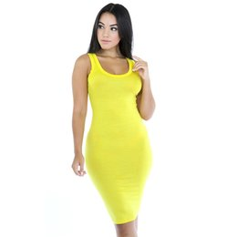 Barato Senhoras Multi Cor Saias-Ladies Summer Style Fitness Mulheres Sexy Bodycon Knee Length Vestidos Casual 2017 Novo vestido sem mangas Multi-color Package Hip Skirt Plus Size