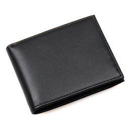 rfid cards price 2019 - Factory Price Genuine Leather Cowhide Men Short Wallets Two Folder Classical Black Card Holder RFID Multifunction Purse