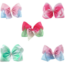 7 inch Big Rainbow Jojo Hair Bow Boutique Hair Accessories Rhinestone Hair Clip Grosgrain Ribbon Bow For Children from big inches suppliers