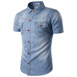 Barato Camisas Finas De Jeans-2017 Men Jeans Shirt Algodão Thin Short Sleeve Denim Camisas Masculino Single Breasted Patchwork Cowboy Camisas Chemise Homme M-5XL