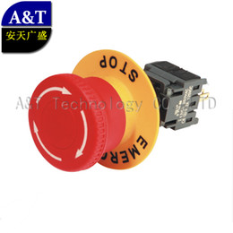 16mm push button switch online shopping - 16mm mushroom head emergency stop push button push for off locking off position turn to reset ON switch with yelow ring TUV CE RoHS