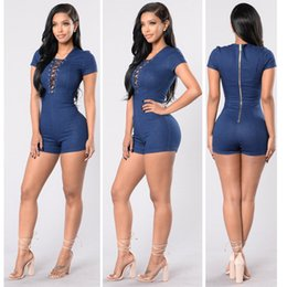 Combinaisons En Coton Pas Cher-Fashion Summer Women Combinaisons en denim 2017 Style à manches courtes Criss Cross V Neck Short Bodycon Bodysuits Casual Rompers Playsuits Shorts
