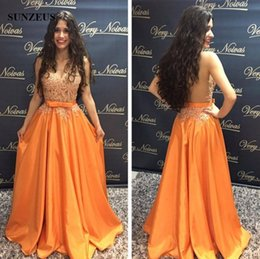 Barato Vestido De Laranja Tafetá-Appliques Beaded Prom Dresses Sexy See-through Bodice Sheer Back Long Orange Taffeta Party Vestidos Com Bow V-neck Sleeveless Event Dress