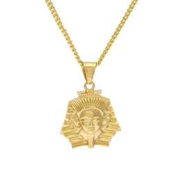 pharaoh chain pendant Australia - Men Women Stainless Steel Egyptian Pharaoh Pendant Gold Color Hip Hop Style Titanium Egypt King Necklace Chain Punk Jewelry