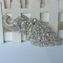 Hijab bouquets online shopping - Lager Silver Crystal AB Rhinestone Brooch Big Peacock Brooches For Women Wedding Bouquets Clip Scarf Buckle Hijab Pins
