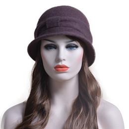 $enCountryForm.capitalKeyWord NZ - Womens Bowknot Gatsby 1920s Retro Winter Warm Church Dress Wool Cap Beanie Cloche Bucket Hat A220