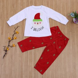Barato Meninas Sleepwear Conjuntos-Baby Christmas Clothes Kids Papai Noel Printed Outfit Girl Roupa de dormir Xmas Toddler Christmas Clothes Set Children Boutique Clothes