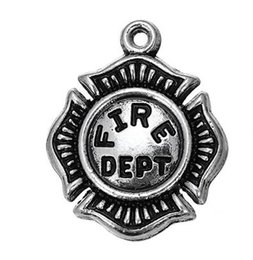 $enCountryForm.capitalKeyWord UK - 10pcs a Lot Classic Antique Silver Plated US Fire Dept Epaulet Charms Jewelry Accessory