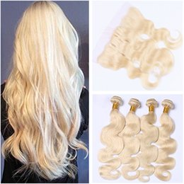 $enCountryForm.capitalKeyWord NZ - Virgin Brazilian 613 Body Wave Human Hair Weaves with Lace Frontal Closure 13x4 Bleach Blonde Full Lace Frontal with 4Bundles 5Pcs Lot