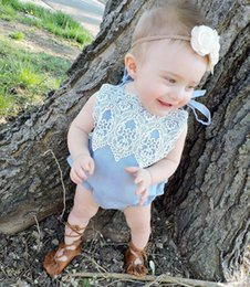 Barato Grossista-Mikrdoo New Lace Baby Romper de alta qualidade de algodão Kid Girl's Clothes Blue Sleeveless Girl Fashion Top Jumpsuit Wholesale Retail
