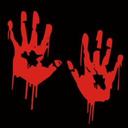 Scary Halloween Party Decorations NZ - Halloween Festive Decoration Party Supplies BLOODY HAND PRINT Stickers Halloween Decoration Zombie Dead Party Prop Scary Party Supplies
