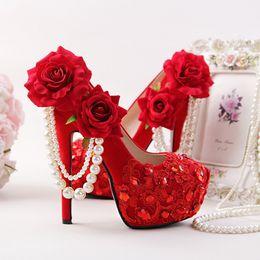 $enCountryForm.capitalKeyWord NZ - Red Wedding Shoes Flower Rhinestone Bridal Dress Shoes Stiletto Heel Flock Leather Fashion Women Crystal Applique Prom Pumps