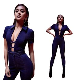 Cravate En Jean Jumpsuit Été Pas Cher-Jeans femme Fashion Strap Jeans 2017 Summer New Blue Sexy Skinny Turndown Collar Short Sleeve Hollow Denim Bodycon Jumpsuits Livraison gratuite