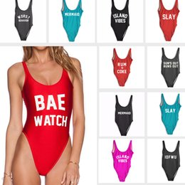 e9cc21891a 2017 Sexy BAE WATCH High Cut Swimwear One Piece Swimsuits Women Letter  Print Bathing Suit Monokini Beachwear Bodysuit Island