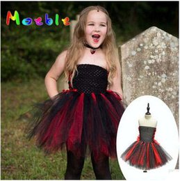 Costume De Halloween Halloween Pas Cher-Vêtements Halloween Vampire Costume Little Girls Cosplay Robe Dark Princess Lace Mini Jupe Maille Off Robe épaule Costume Performance