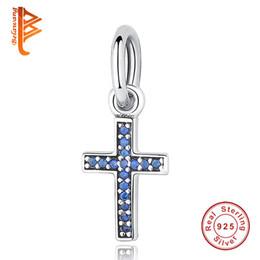 BELAWANG 925 Sterling Silber Dazzling Clear CZ Diamant-Perlen Fancy PinkBlue Kristall Kreuz Charm Fit Pandora Armband DIY Schmuck machen