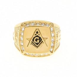 Drops Hip Jewelry Canada - Hip Hop Stainless steel freemason cz diamond rings Men Gold Masonic ring drop shipping ring jewelry