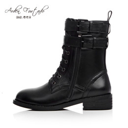 Genuine Leather Boots For Women Canada - 2017 spring autumn winter Round toe short Plush flat woman genuine leather Middle Half Boots lace-up shoes for women Chelsea Martin Boots