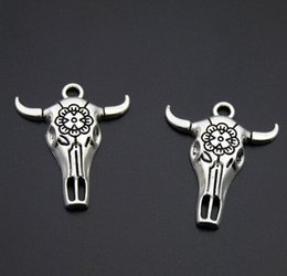 $enCountryForm.capitalKeyWord Australia - 100pcs lot Antique Silver Plated skull bull Ox Head Charms Pendants for Jewelry Making DIY Handmade Craft 32x26mm