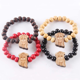 $enCountryForm.capitalKeyWord Canada - Hip Hop Good Wood Bracelets Jesus Piece Hiphop Bracelet Natural Goodwood NYC Adjustable Macrame 10mm Beads Religious Bracelets For Men