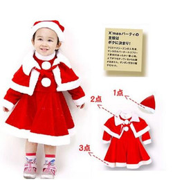 Barato Vestido Lolita Bebê-Baby Girls Christmas Santa Claus Fancy Dress com Shawl Hat Conjunto de roupa Red Color 5 S / l