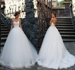 2017 New Design Tulle A Line Wedding Dresses Milla Nova Vestido De Noiva Appliques Sexy Sweetheart Lace Up Backless Bridal Gowns