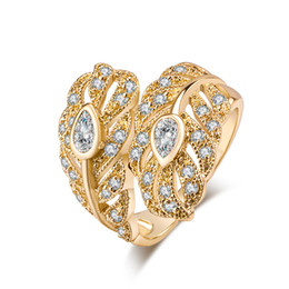 Plates Gift Europe UK - Europe and America Fashion 18K Yellow Gold Plated AAA CZ Vintage Leaf Ring for Girls Women Nice Valentine's Day Gift JR0359