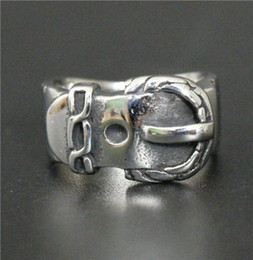 Mexican Belt Canada - Size 7-12 Fashion Belt Style Ring 316L Stainless Steel Jewelry Cool Men Women Silver Anchor Ring