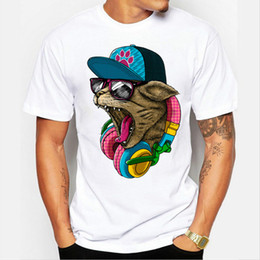 Barato Camisas Superiores Do Gato-New Arrival Men's Fashion Crazy DJ Cat Design T shirt Cool Tops T-shirt de manga curta Hipster Frete grátis