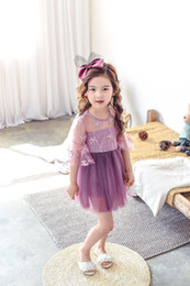 $enCountryForm.capitalKeyWord Canada - HUG ME 2017 2color New Kids Beautiful Flare sleeve Girls Toddler Baby Lace Princess Party Dresses Solid Party Brief Casual Dress party dress