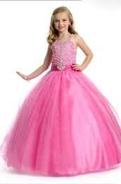 $enCountryForm.capitalKeyWord NZ - Beauty Pink Tulle Straps Beads Flower Girl Dresses Princess Pageant Dresses Girl Party Dresses Custom Made 2-14 F525053