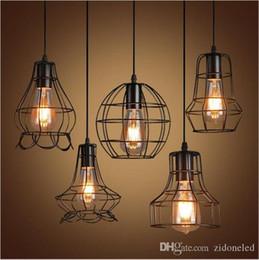 Venta al por mayor de Retro jaula de hierro led luz colgante loft lámpara colgante E27 LED industrial luces colgantes accesorio bar cafetería restaurante tienda de iluminación