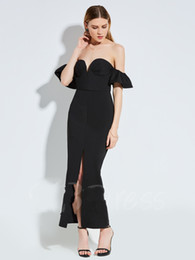 Petite Wedding Gown Pink UK - sexy strapless black prom dress sheath ankle-length short sleeves backless elegant wedding guest dress cheap evening gown