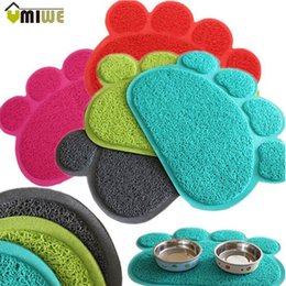 Discount paw beds - 6 Colors Pet Dog Puppy Cat Feeding Mat Pad Cute Paw PVC Bed Dish Bowl Food Water Feed Placemat Wipe Clean Pets Cats Dogs