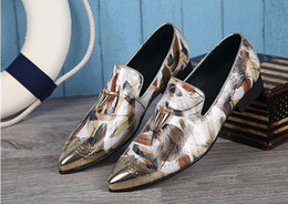 Shoes Metal Print NZ - New Fashion Men Business Leather Shoes Formal Wedding Dress Shoes Pointed Metal Toe Party Prom Oxfords Mixed Colors print Shoes