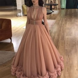 Barato Vestidos De Princesa Peito-Princess Blush Ball Gown Prom Vestidos Abendkleider 2017 Sexy Open Chest Long Evening Gowns Dubai Arab Tulle Ruffles Formal Dress