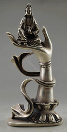 $enCountryForm.capitalKeyWord Australia - christmas decorations for home+ Collectible Decorated Old Tibet Silver Carved Kwan-yin Sit In Buddha Hand Statue free SHIPPING