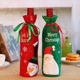 $enCountryForm.capitalKeyWord NZ - Wine Bottle Cover Merry Christmas Santa Claus Let It Snow Snowman Decorations Xmas Dinner Party Table Decor Ornaments Red Green Color
