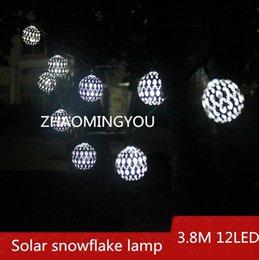 3.8M 12LED Lampada a fiocco di neve solare, illuminazione esterna a LED, lampada da giardino esterna, lampadario di Natale con cornice impermeabile