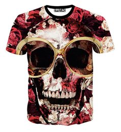 Barato Camisa De Manga Curta Manga Florida-2017 Men's 3d T-Shirt Big Flowers Glasses Skull T-shirt impresso para homens Harajuku Summer Short Sleeve Tee Shirts tops