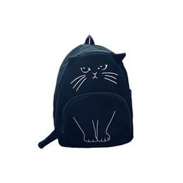 $enCountryForm.capitalKeyWord Australia - Wholesale- 2016 Japanese Lovely cartoon Cat Backpack For Women Backpack Casual Canvas Girl School Bag Kawaii Backpack travel rucksack